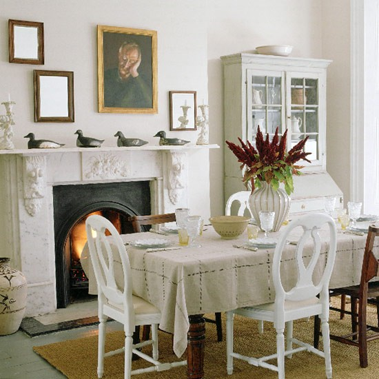 Formal Dining Room Paint Ideas: Formal Dining Room With Table, White Painted Chairs And