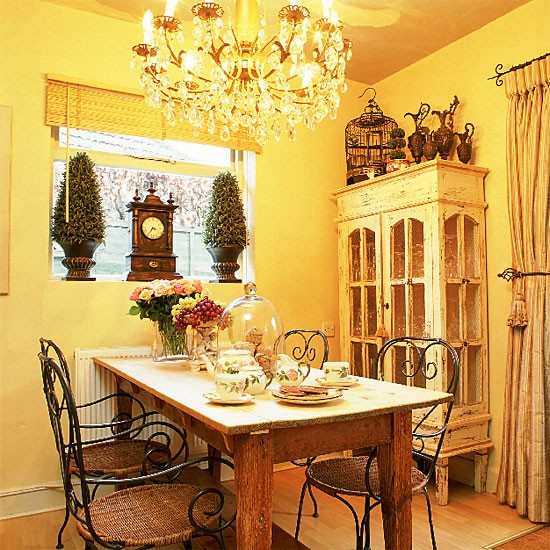 Country Dining Room: Country Dining Room With Table, Chairs, Cabinet And
