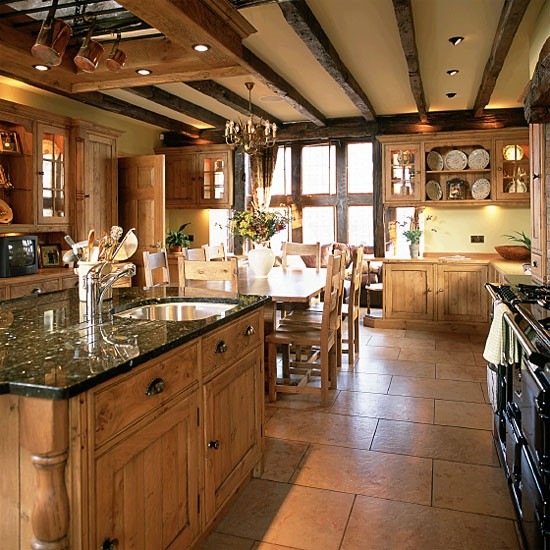 Amazing Ceiling Decorations For Your Modern Home: Country Kitchen With Wooden Units And Beams