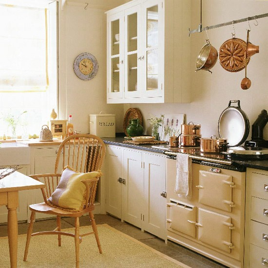 Cream Kitchen Ideas: Country Kitchen With Cream Units, Wooden Table And Stone