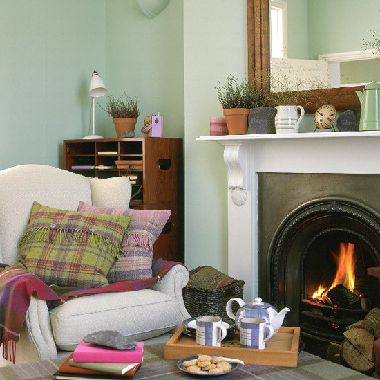 Living Room With Fireplace Armchair And Tartan