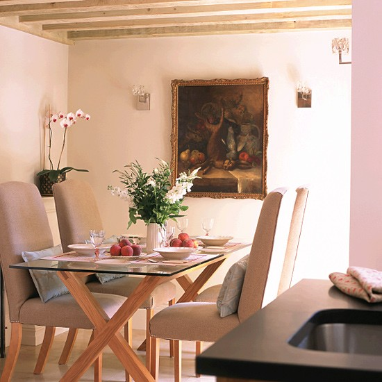 Small Cottage Dining Room Ideas: Cottage Dining Area With Trestle Table, Chairs And