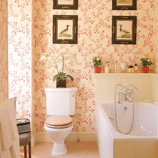 Bath Wallpaper Ideas: Bathroom With Red Patterned Wallpaper, Tongue And Groove