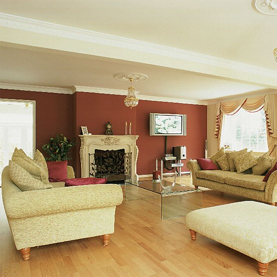 Red Room: Living Room With Red And Cream Walls, Plus An Ornate