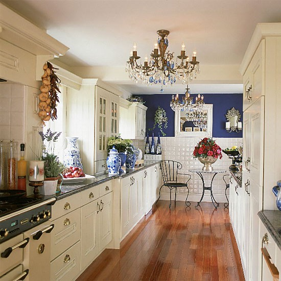Galley Kitchen Remodeling Pictures Ideas Tips From: Blue And White Galley Kitchen