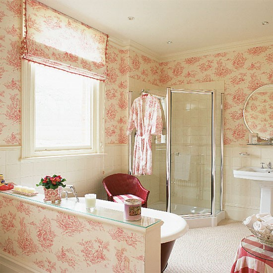 Bathroom Wallcovering French Toile Room Decor Bathroom: French-style Ensuite Bathroom