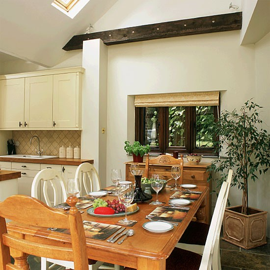 Open Dining Room: Open-plan Country Dining Room