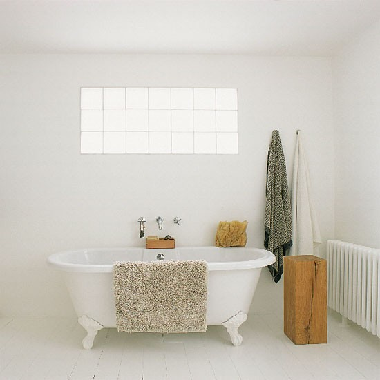 Minimalist Bathroom Images: White Bathroom With Freestanding Tub And Tiled Walls And
