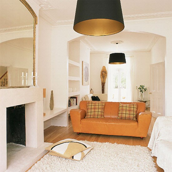 White living room   Decorating ideas   housetohome. - Decorating With Tan Leather Sofa