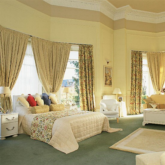 Bedroom Yellow Bedroom Interior With Furniture Egyptian Bedroom Decor Bedroom Carpet Color Ideas: Bedroom With Traditional Furniture And Curtains