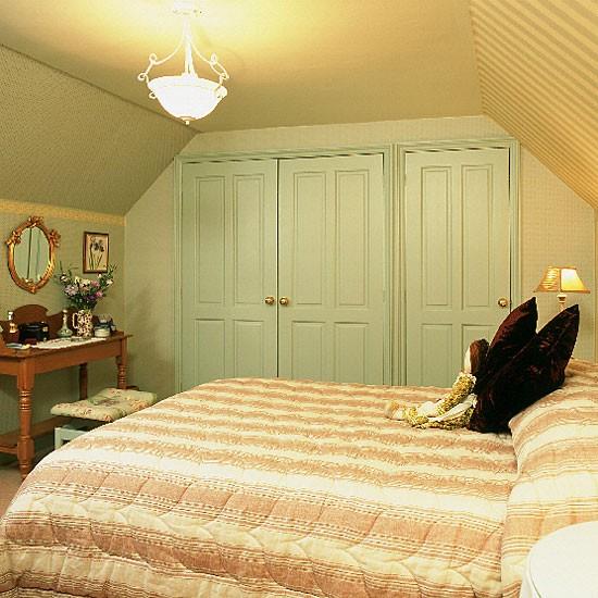 Duck Egg Colour Bedroom Bedroom Built In Cupboards Bedroom Design Ideas For Teenage Girls 2014 Bedroom Artwork Ideas: Bedroom With Built-in Wardrobe, Striped Walls And Quilt