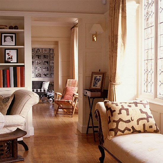 Cream Living Room: Living Room With Wooden Flooring And Natural Colours