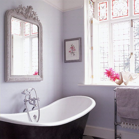 Lilac-grey Bathroom With Antique Mirror