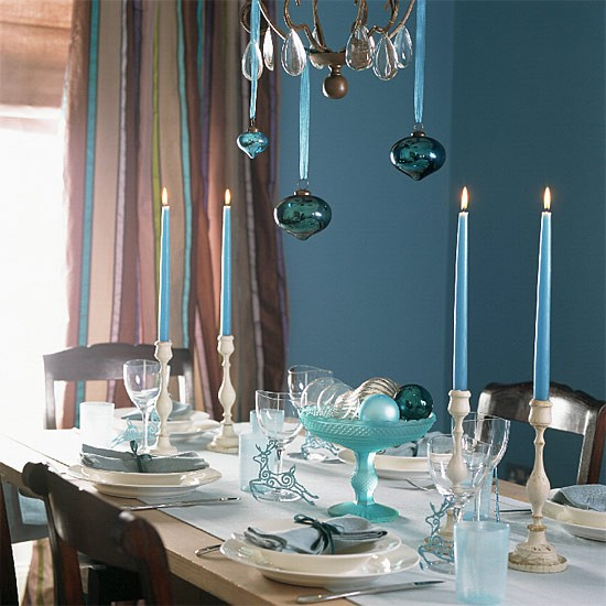 Blue Dining Room Decoration: Blue Christmas Dining Room