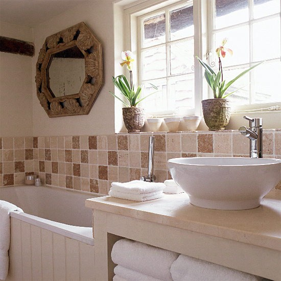 Small Bathrooms Cottage Style: Small Neutral Bathroom With Brown Tiles And Contemporary