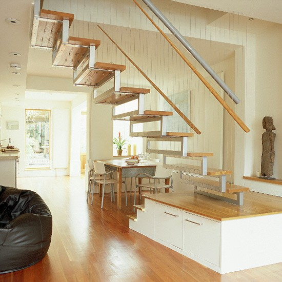 Living/dining Room With Wooden Floor And Bespoke Staircase
