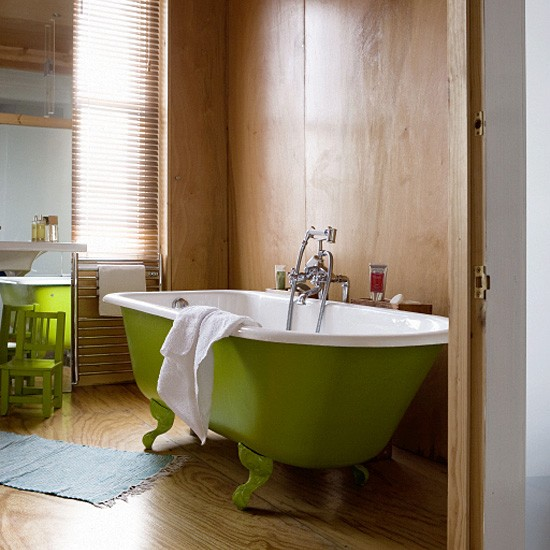 Federation Vanities For Bathrooms: Bathroom With Ply Walls And Green Freestanding Bath