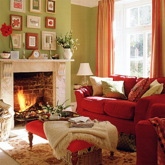Green Living Room With Red Sofa, Stool And Curtains