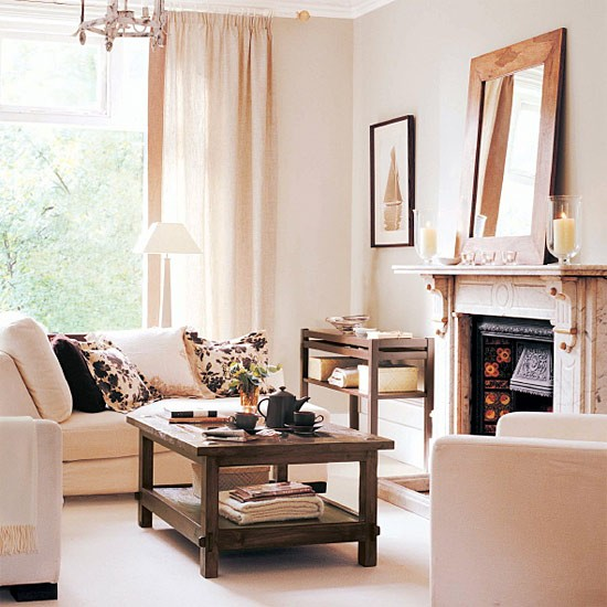 Living Room Schemes: Living Room With Cream And Chocolate Colour Scheme
