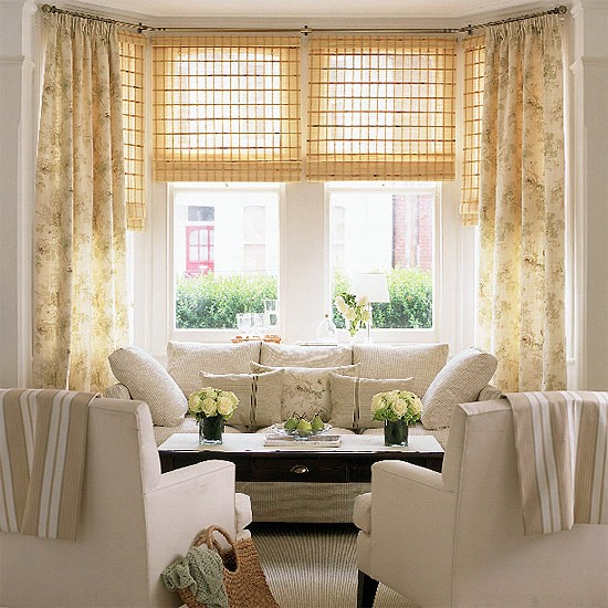 Cream Living Room: Living Room With Cream Furniture, Floral Curtains And