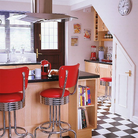 Wooden Kitchen With Fifties Style Stools Housetohome Co Uk