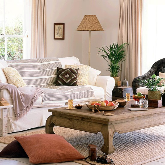 Living Room With Natural Tones And Dark Wood
