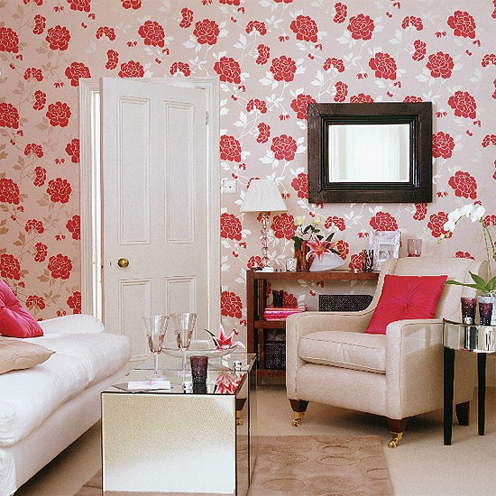 Living Room With Striking Floral Wallpaper