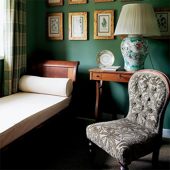 Dark Green Dressing Room With Antique Day Bed, Checked