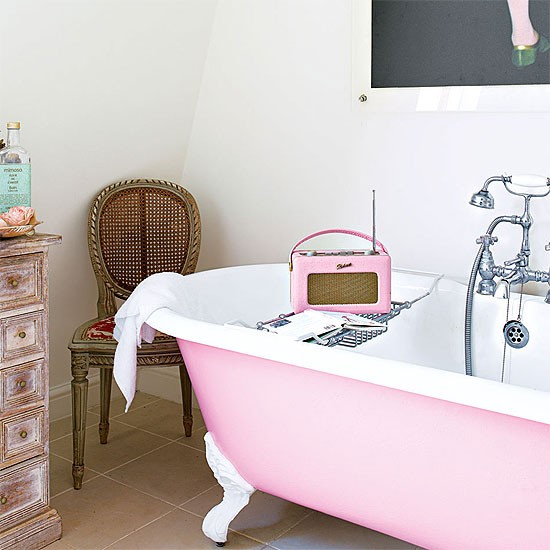 Pink And White Bathroom: White Bathroom With Pink Roll Top Bath