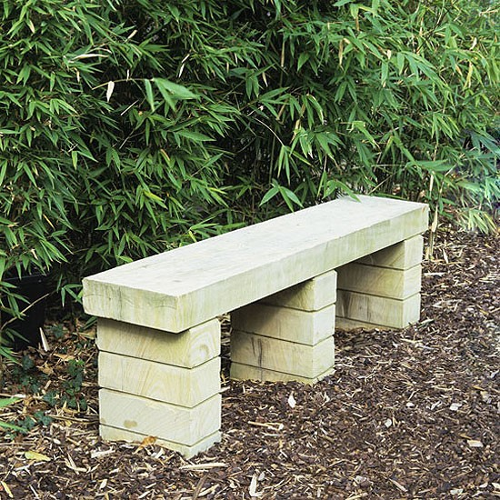 Stone Garden Seats: Garden Seating Area With Stone Bench And Bamboo