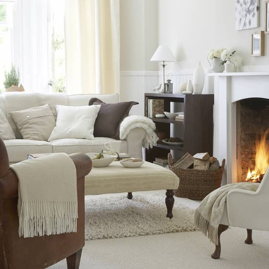 White Living Room Ideas: Warm White Living Room