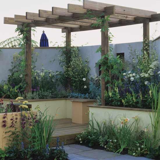 Pergola Landscaping Ideas: Small Garden With Wooden Pergola