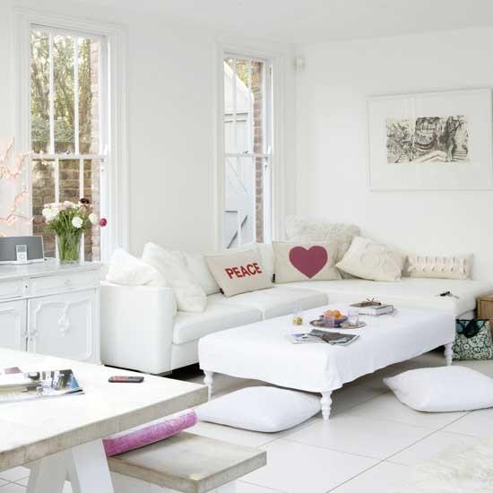 White Living Room Ideas: Sleek White Living Room