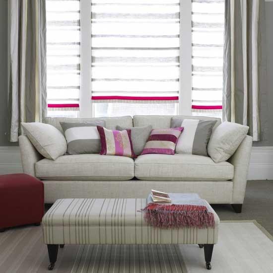 grey and pink striped living room living room furniture decorating ideas. Black Bedroom Furniture Sets. Home Design Ideas