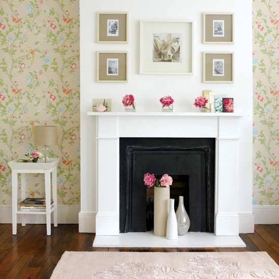 Living Room With Summery Fireplace
