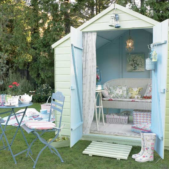 Soft Green And Blue Garden Shed