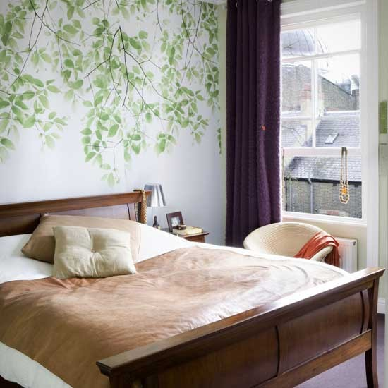 Coral Bedroom Accessories Uk Bedroom Wallpaper Black Carpet For Master Bedroom Bedroom Ideas Lilac: Leafy Wallpaper Bedroom