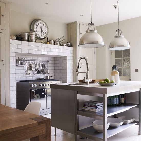Industrial-style Kitchen With Stainless-steel Island