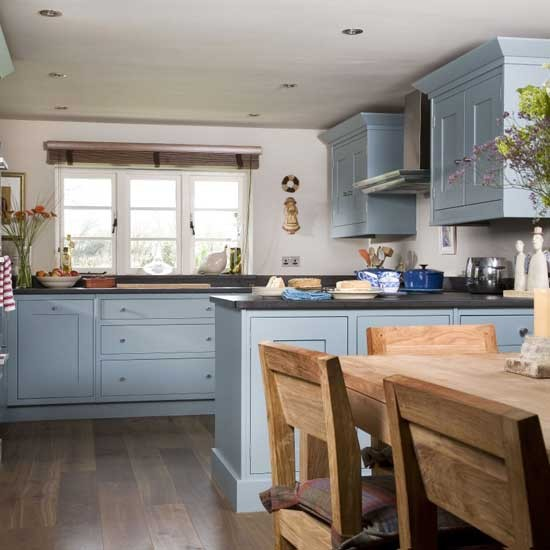 Country Style Kitchens: Blue Kitchen Cabinets