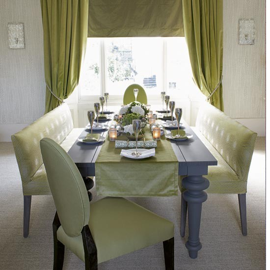 Green Dining Room: Green And Silver Dining Room