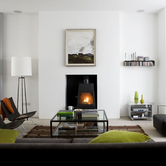 Designer style living room living rooms living room - Living room with wood burning stove ...