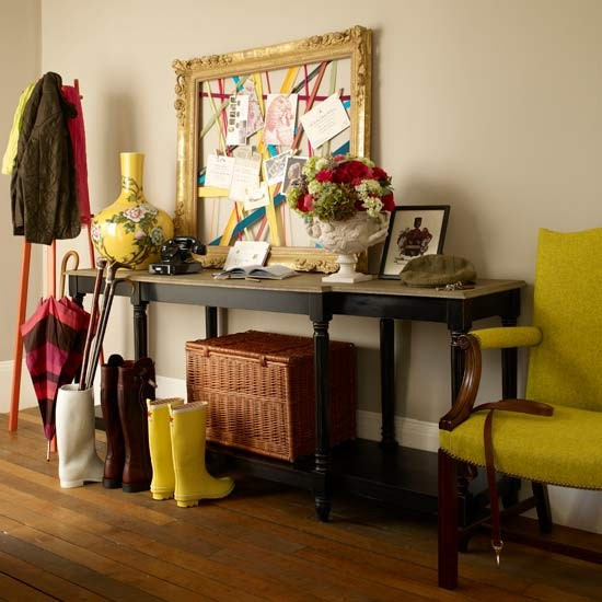 Contemporary Hallway With Splashes Of Yellow
