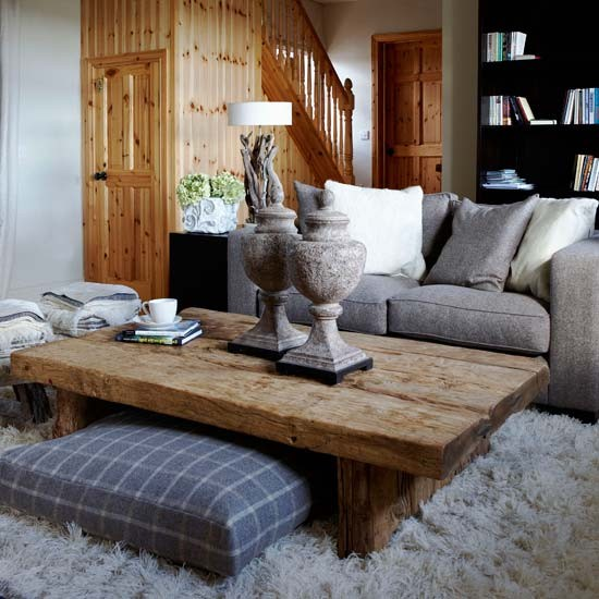 Cozy Gray Living Room: Cottage Living Room