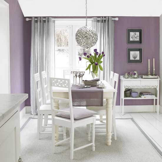 Dining Room Colors: Plum And Silver Dining Room
