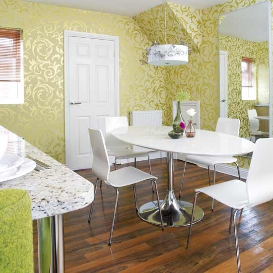 Dining Room Wall Ideas: Shimmering Wallpaper Dining Room