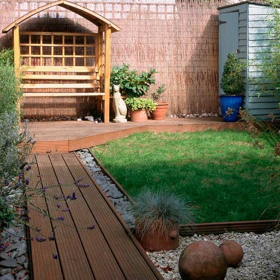 Small Garden Designs: Small Garden With Decked Path And Arbour