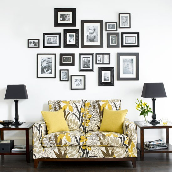 Living room with family photo wall   Living rooms   Design ...