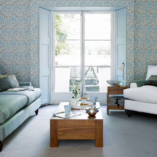 Floral feature wall living rooms design ideas image - Feature wall living room ...