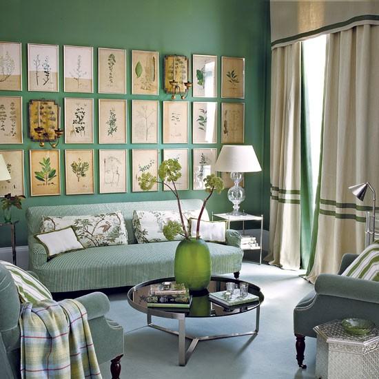 Green living room   living room ideas   traditional living ...