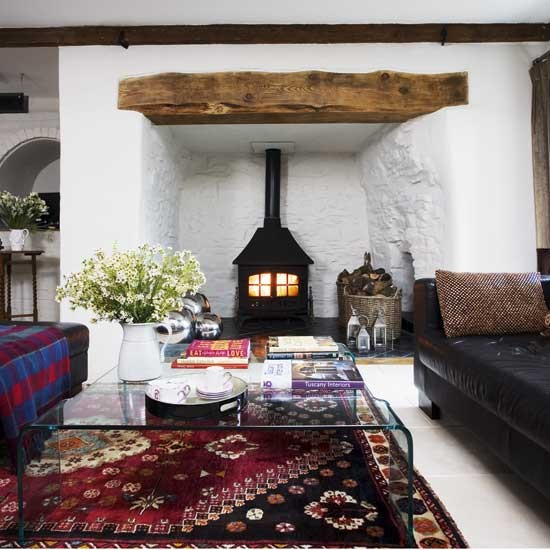 Wood burning stove living room - Living room with wood burning stove ...